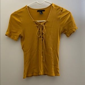 Mustard Yellow Lace Up Top